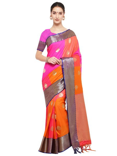 Designer Orange Cotton Silk Saree