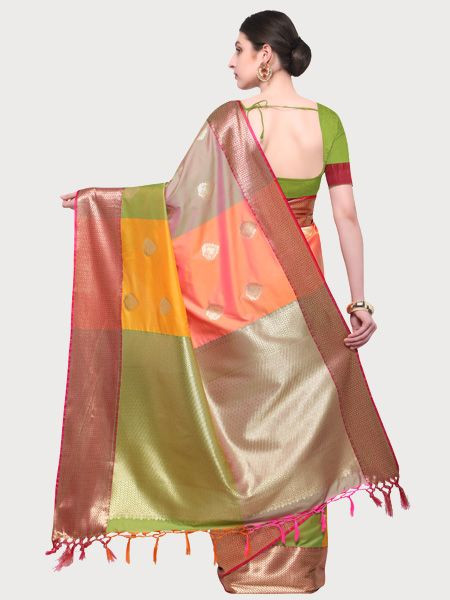 Designer Green Cotton Silk Saree