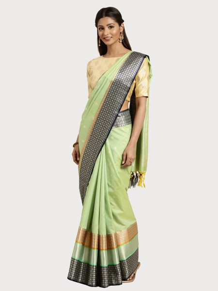 Designer Pastel Green Cotton Silk Saree