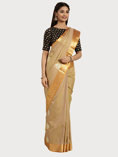 Designer Khaki Cotton Silk Saree
