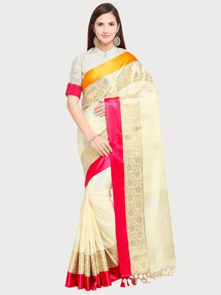 Designer Off White Cotton Silk Saree