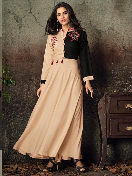 Latest Peach Rayon Kurti