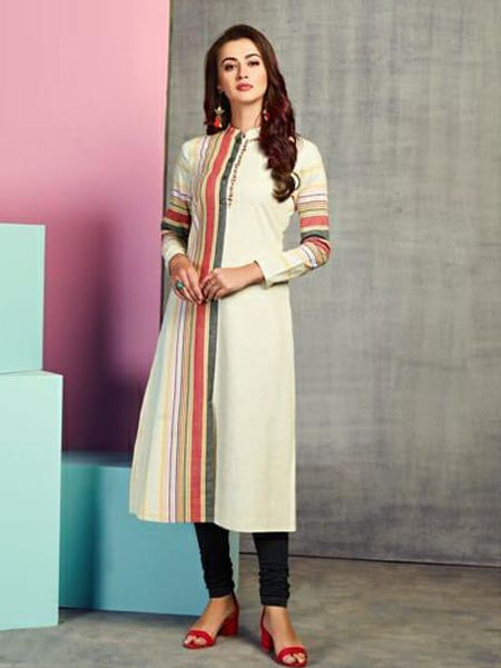 Stylish Off White Handloom Kurti