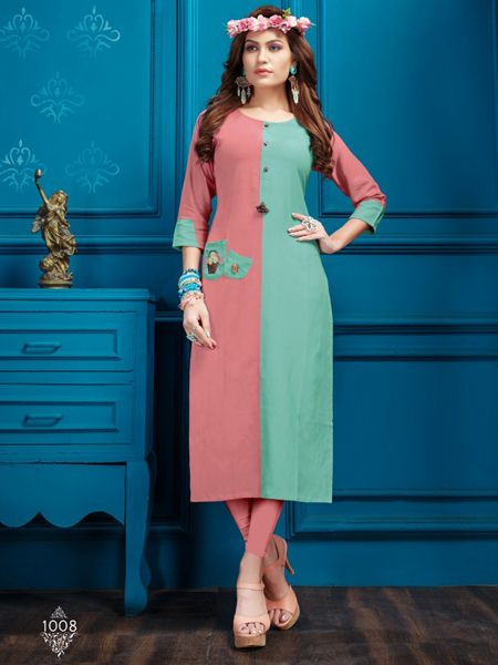 Designer Pink Cotton Kurti - YOYO Fashion