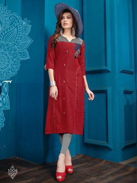 Designer Red Cotton Kurti - YOYO Fashion