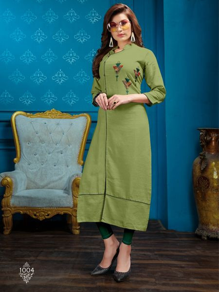 Designer Parrot Green Cotton Kurti - YOYO Fashion