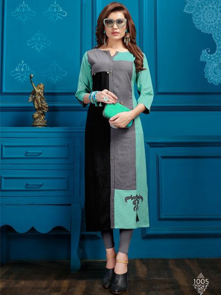 Designer Sky Blue Cotton Kurti - YOYO Fashion