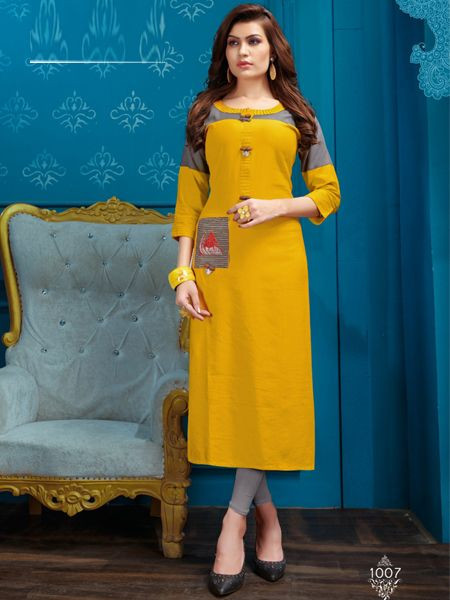 Designer Yellow Cotton Kurti - YOYO Fashion
