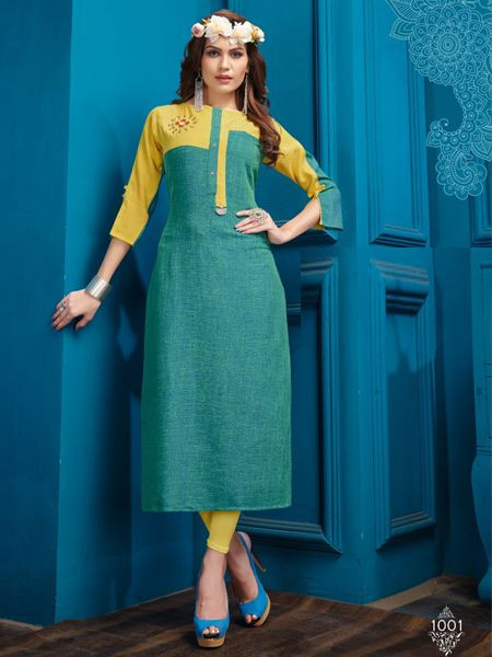 Designer Blue Cotton Kurti - YOYO Fashion