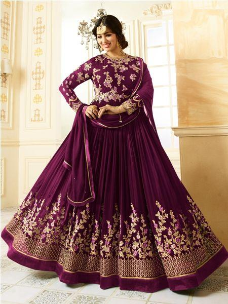 Buy Beige Embroidered Purple Anarkali Suit Online - YOYO Fashion