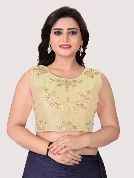 Buy Beige Round Neck Women's Stitched Blouse Online in India- YOYO Fashion