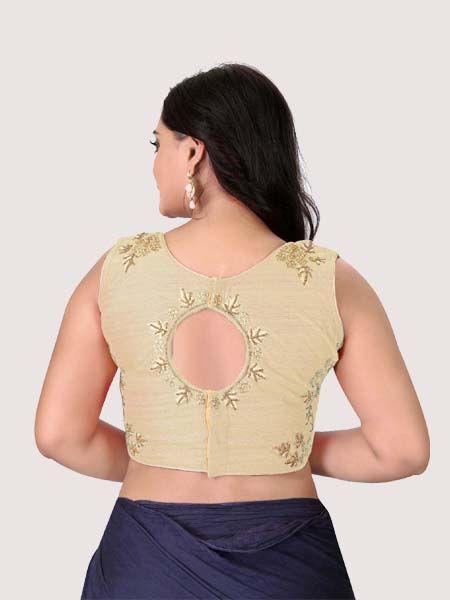 Beige Round Neck Women's Stitched Blouse Online on YOYO Fashion