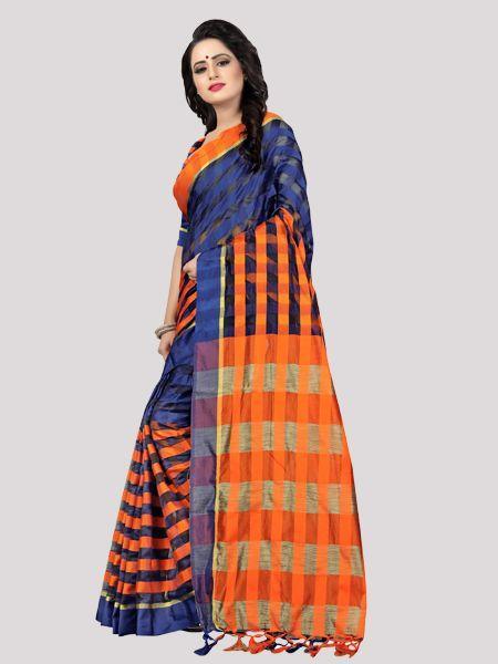 Buy Black and Orange Striped Silk Saree Online - YOYO Fashion