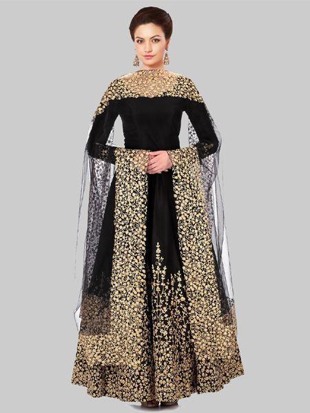 Black Silk Embroidered Anarkali Suit