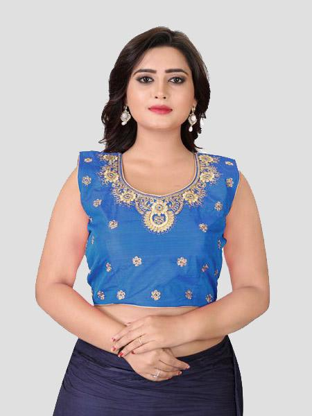 Buy Blue Embroidered Round Neck Blouse Online in India - YOYO Fashion