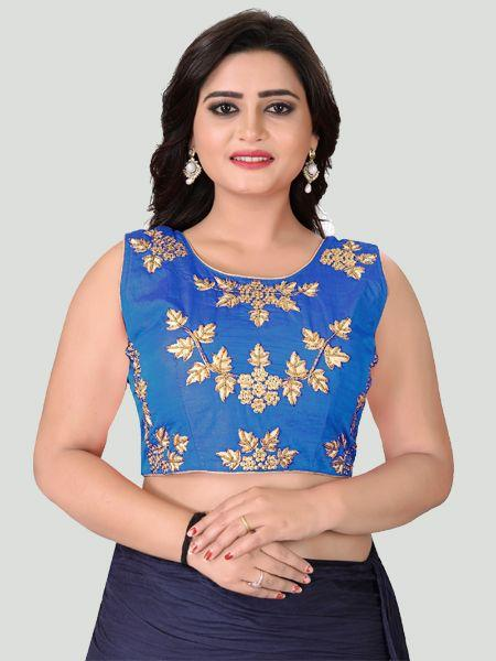 Buy Blue Round Neck Women's Stitched Blouse Online - YOYO Fashion