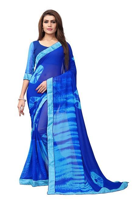 Buy Blue Georgette Bandhani Saree Online from YOYO Fashion