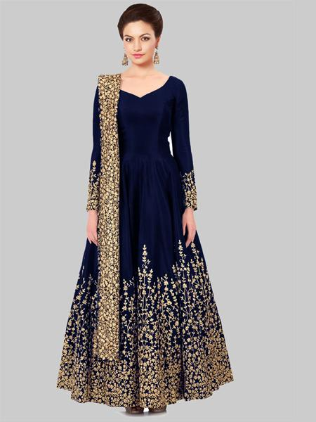 Buy Designer Blue Semi-Stitched Anarkali Suit Online in India- YOYO Fashion