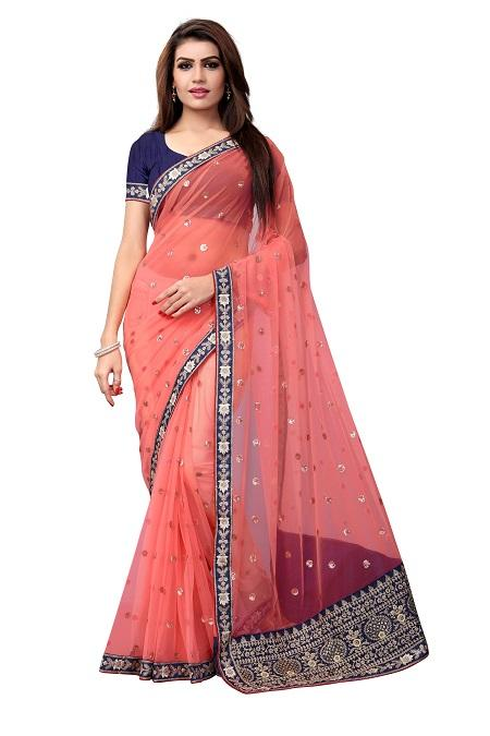 Buy Embroidered Peach Net Saree Online from YOYO Fashion