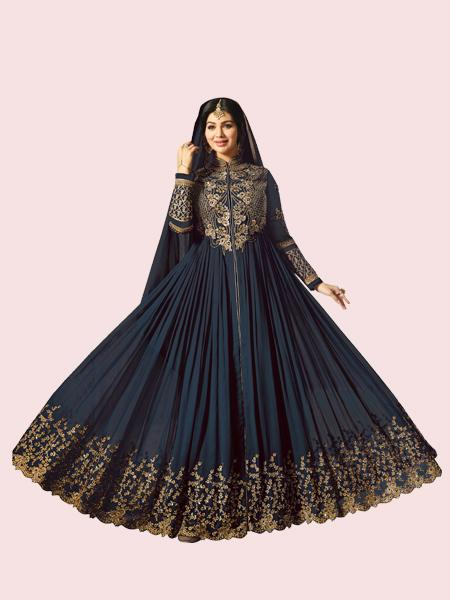 Buy Golden Embroidered Navy Blue Anarkali Suit Online - YOYO Fashion