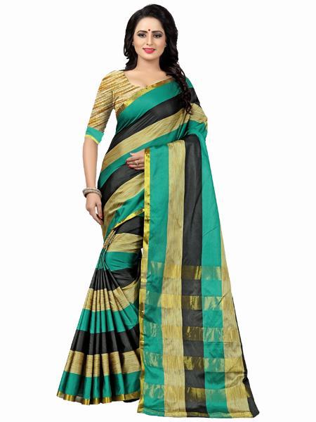 Buy Green, Black & Golden Striped Silk Saree Online from YOYO Fashion