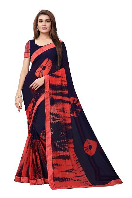 Buy Navy Blue Georgette Bandhani Saree Online from YOYO Fashion