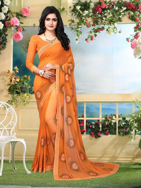 Buy Orange Embroidered Georgette Saree Online from YOYO Fashion