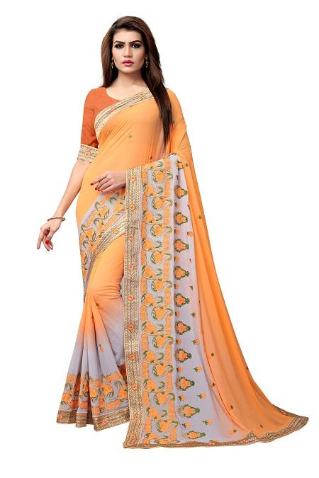 Buy Oraange Thread Embroidery Georgette Saree Online from YOYO Fashion