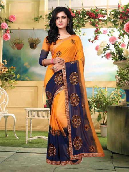 Buy Orange and Blue Georgette Saree Online - YOYO Fashion