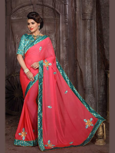 Buy Pink Embroidered Silk Saree Online from YOYO Fashion