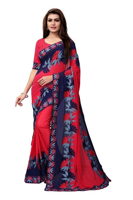 Buy Pink Georgette Saree with Thread embroidery Online from YOYO Fashion