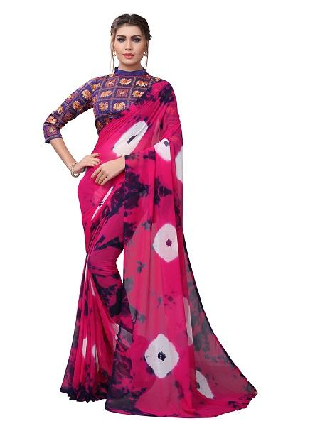 Buy Pink Printed Georgette Saree Online from YOYO Fashion