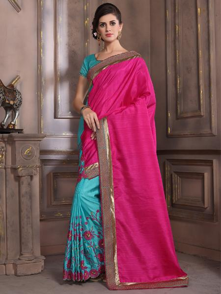 Buy Pink and Blue Embroidered Silk Saree Online from YOYO Fashion