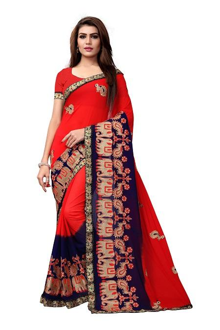 Buy Red Georgette Saree with Animal Embroidery  Online from YOYO Fashion