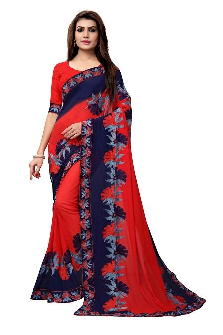 Buy Red Georgette Saree with Thread Embroidery Online from YOYO Fashion