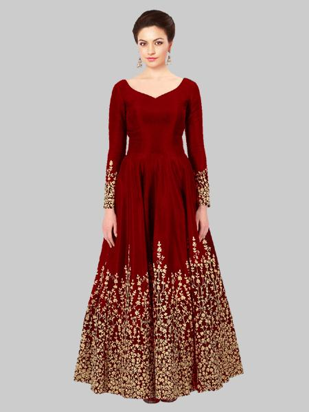 Red Silk Embroidered Anarkali Suit