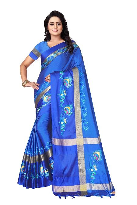 Buy Thread Work Blue Polyester Saree Online from YOYO Fashion