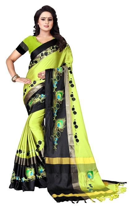 Buy Thread Work Green Black Polyester Saree Online from YOYO Fashion