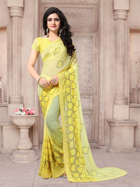 Buy Yellow Embroidered Georgette Saree Online - YOYO Fashion