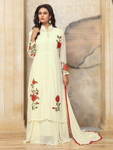 Buy Cream & Red Embroidery Indo Western Dress Online - YOYO Fashion