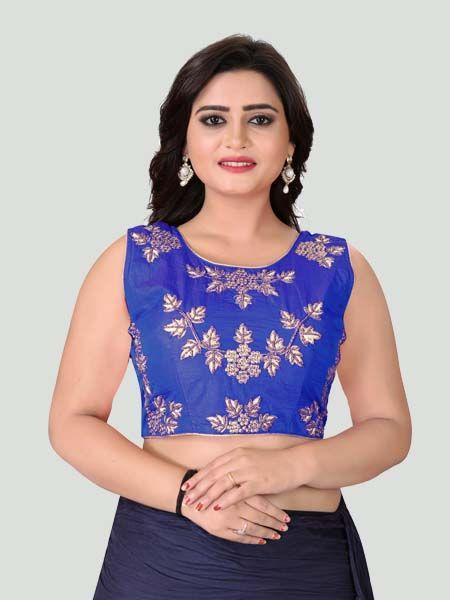 Buy Dark Blue Round Neck Women's Stitched Blouse Online - YOYO Fashion
