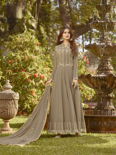 Buy Elegant Beige Anarkali Salwar Suit Online- YOYO Fashion