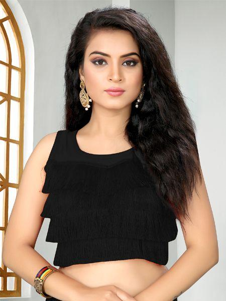 Buy Designer Black Ruffle Saree Blouse Online - YOYO Fashion