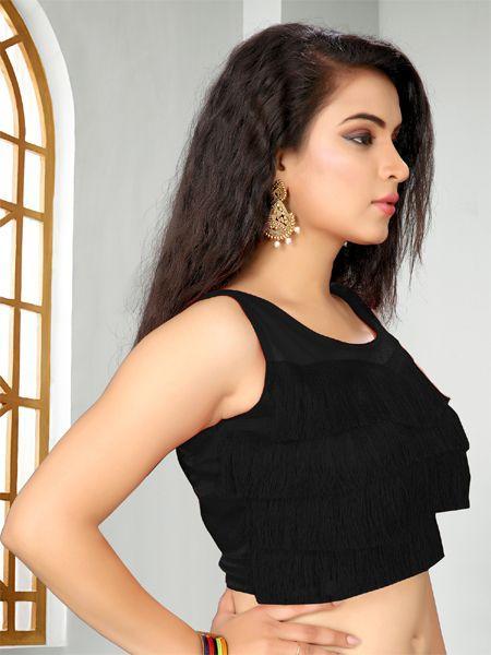 Buy Designer Black Ruffle Saree Blouse Online - YOYO Fashion