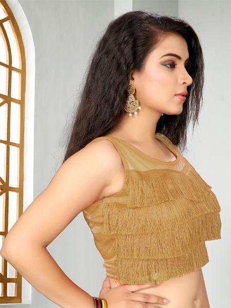 Buy Designer Beige Ruffle Saree Blouse Online - YOYOFashion