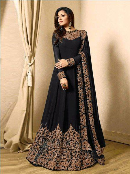 Buy Designer Black Embroidered Anarkali Suit Online - YOYO Fashion