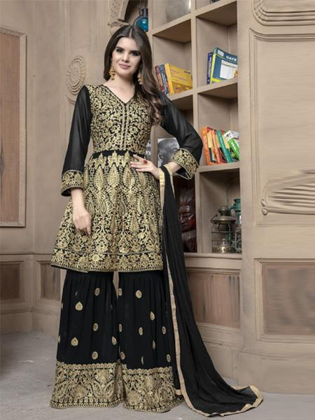 Front of Pakistani Black Sharara Suit Design Online - YOYO Fashion