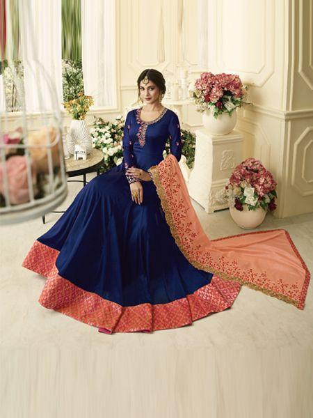 Buy Designer Blue Anarkali Salwar Suit Online - YOYO Fashion