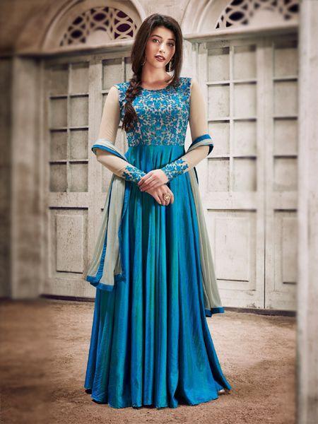 Buy Designer Fancy Silk Sky Blue Anarkali Gown Salwar Suit Online - YOYO Fashion