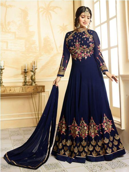 Buy Designer Faux Georgette Blue heavy Embroidered and Handwork Anarkali Suit Online- YOYO Fashion